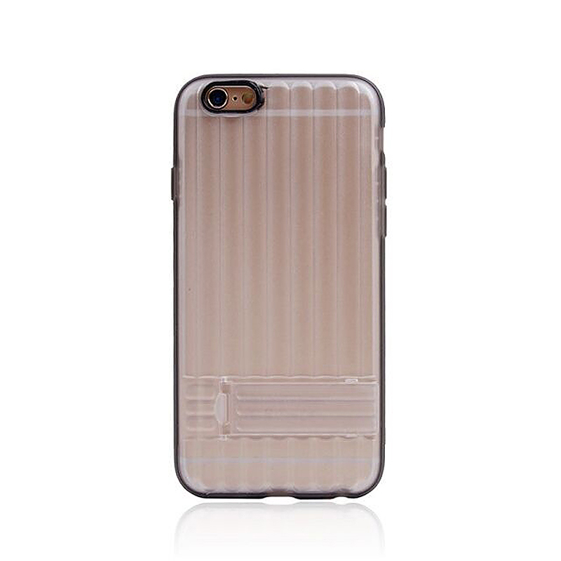 Transparent Case with Folden Stand Bracket for iPhone 6 4.7 - Black