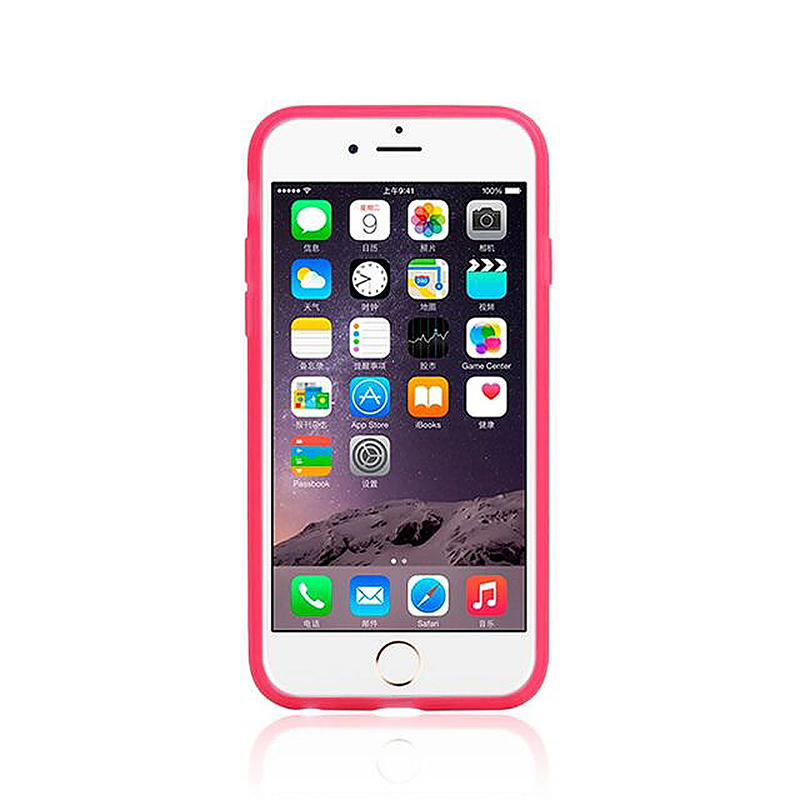 Transparent Case with Folden Stand Bracket for iPhone 6 4.7 - Pink