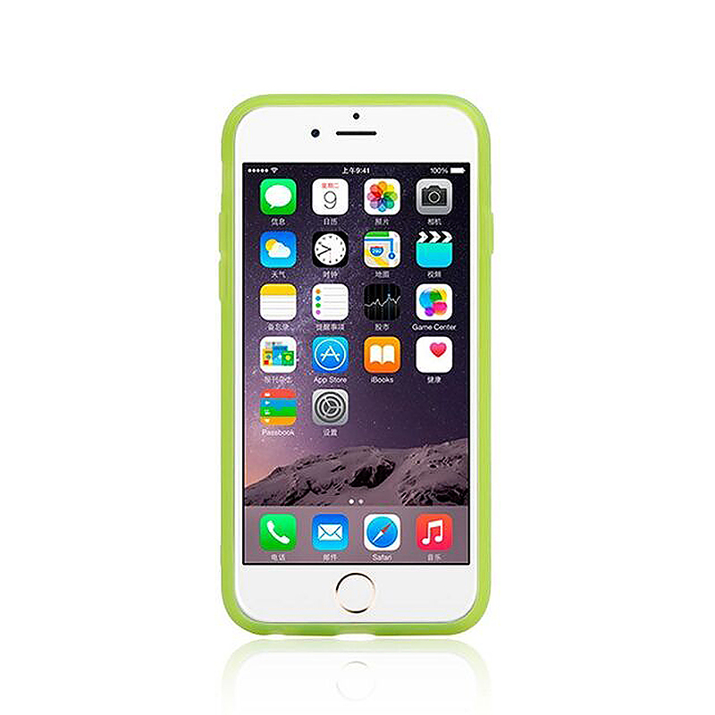 Transparent Case with Folden Stand Bracket for iPhone 6 4.7 - Green