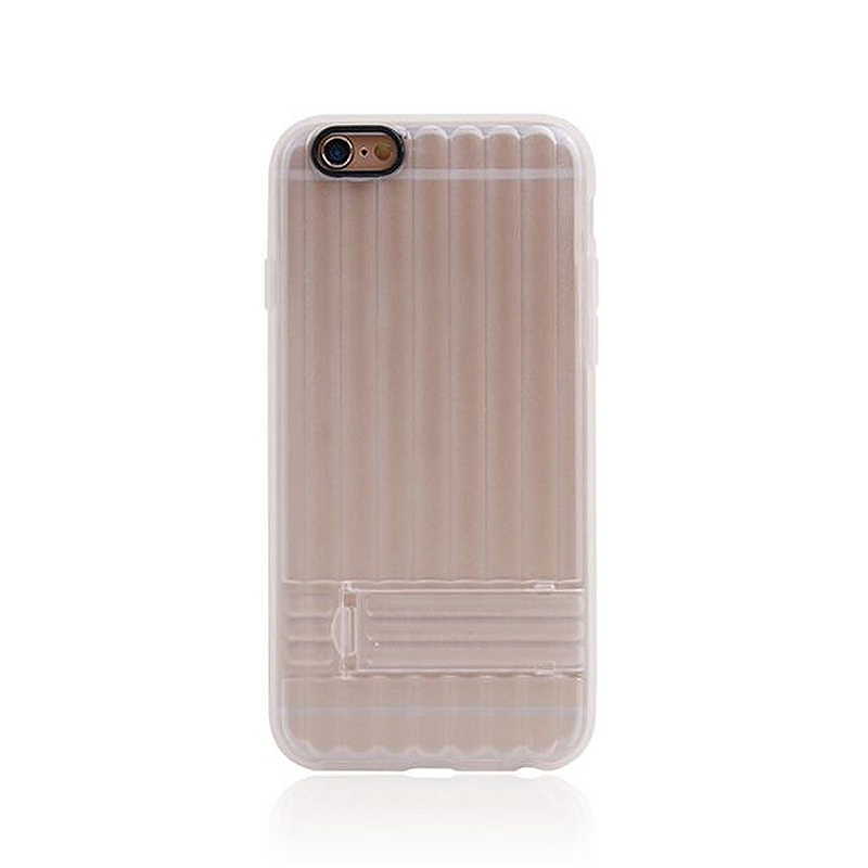 Transparent Case with Folden Stand Bracket for iPhone 6 4.7 - White
