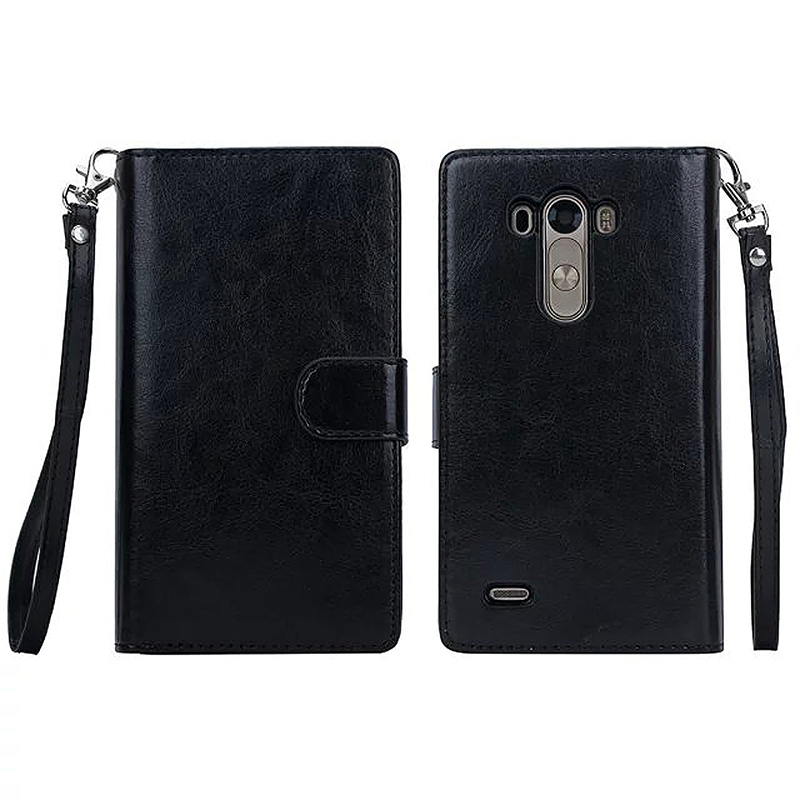 PU Leather Card Wallet Purse Case Cover Bag for Phone LG G3 - Black