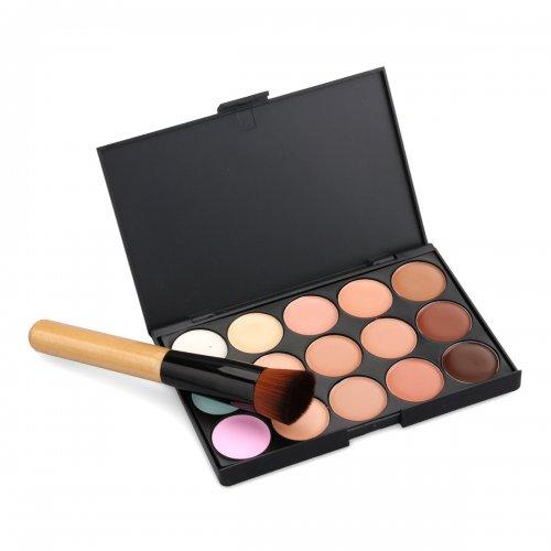 15 Colors Party/Salon Contour Face Cream Makeup Concealer With Powder Brush
