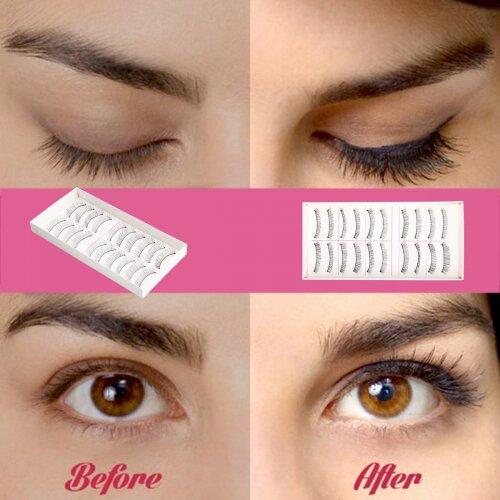 10 Pairs Soft Natural Cros Handmade Eye Lashes Makeup Extension False Eyelashes
