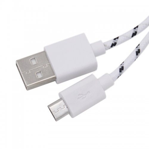 1M Length Micro USB Knitted Power & Data Cable- White