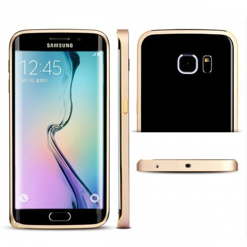 Metal Aluminum Alloy Ultra Thin Border Frame Bumper Case for Samsung Galaxy S6 - Gold