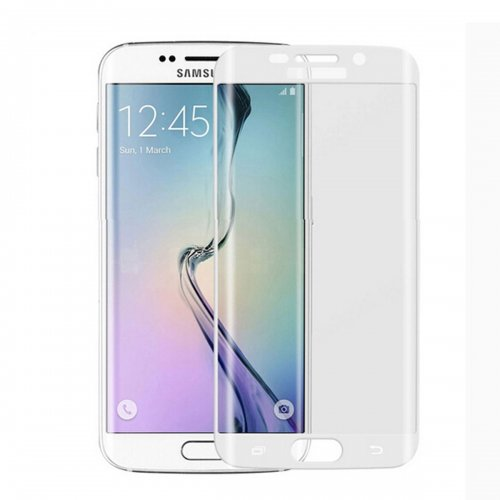 Full Cover Curved Tempered Glass Screen Protector for Samsung Galaxy S6 Edge - White