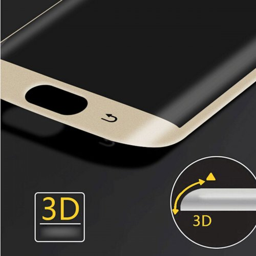 Full Cover Curved Tempered Glass Screen Protector for Samsung Galaxy S6 Edge - Gold