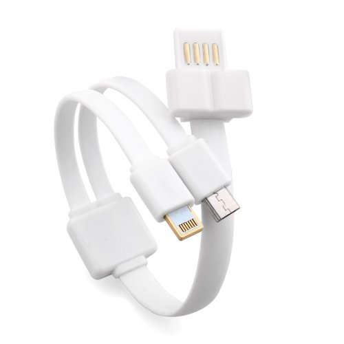 2-in-1 Bracelet Micro USB Lightning Data Charge Cable for iPhone Samsung - White
