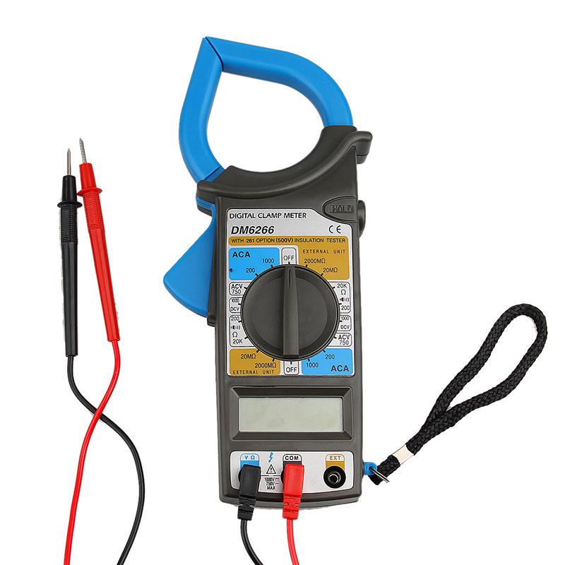 DM6266 Digital LCD Clamp Multimeter DMM Voltmeter DCV ACV ACA 1000A