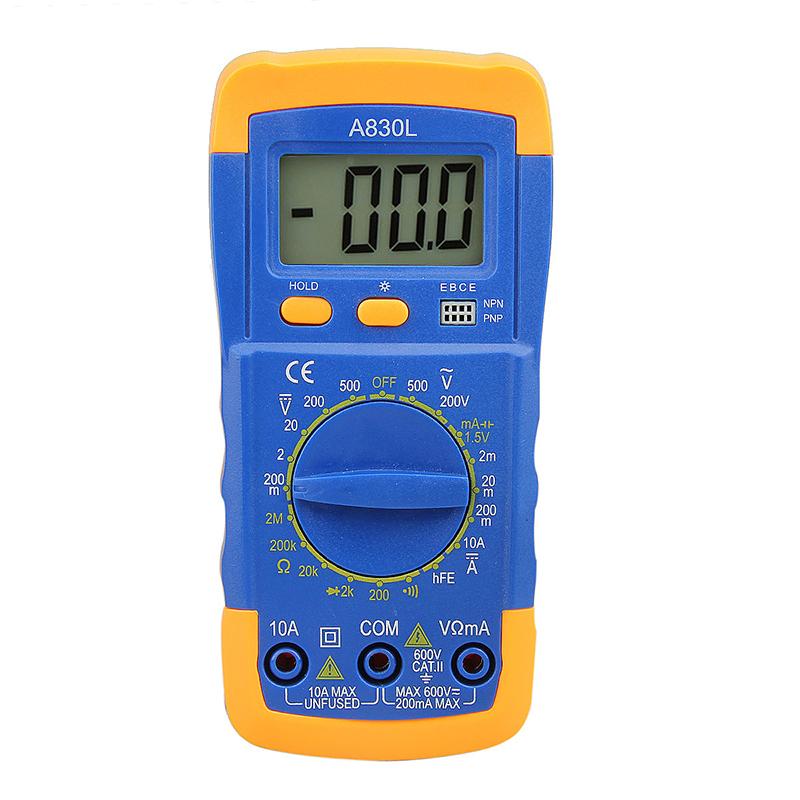 A830L Portable LCD Digital Multimeter Voltmeter Ammeter Ohmmeter OHM Tester - Orange