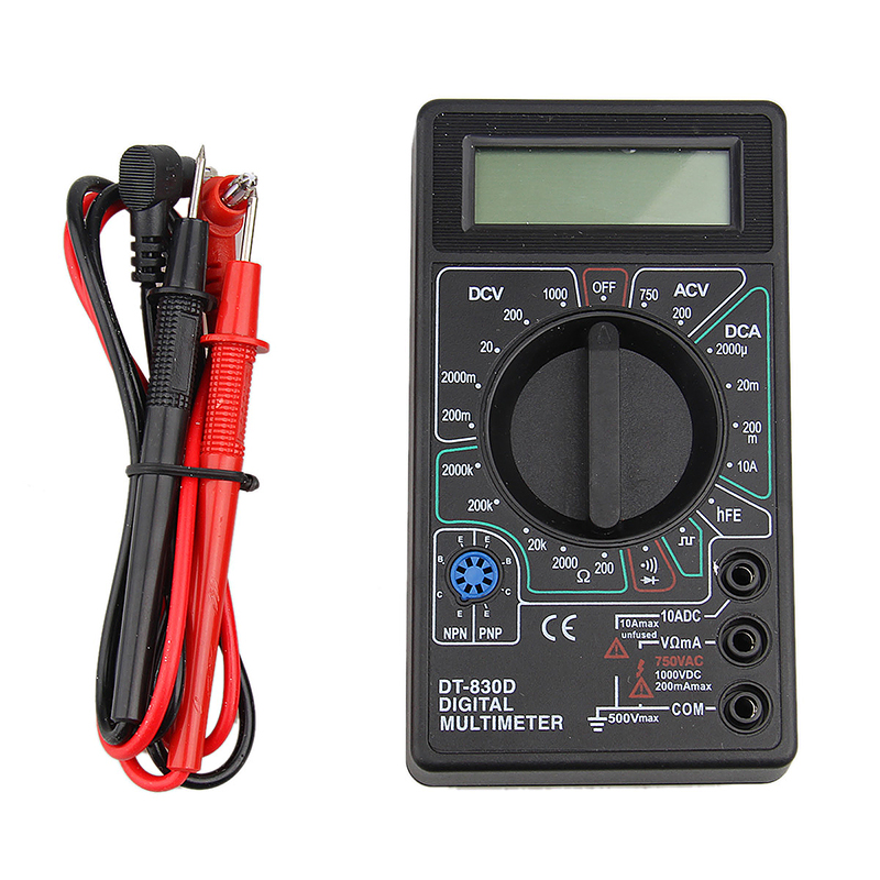 DT-830B Universal Digital Multimeter Tester for Measuring Ac/Dc Voltage - Black