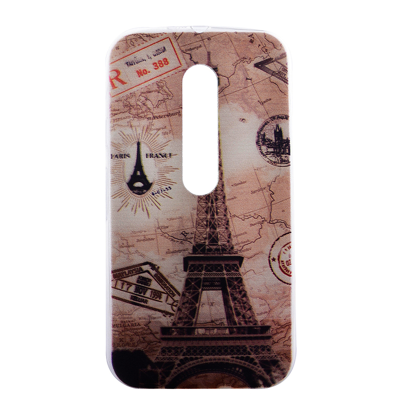 TPU Slim Thin Soft Case Back Cover Skin Shell for Moto G3 - Eiffel Tower