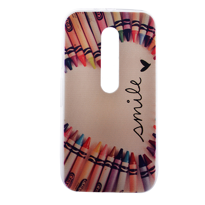 TPU Slim Thin Soft Case Back Cover Skin Shell for Moto G3 - Color Pens