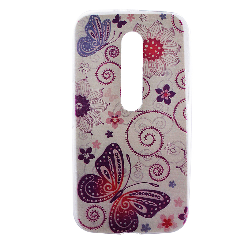 TPU Slim Thin Soft Case Back Cover Skin Shell for Moto G3 - Butterfly