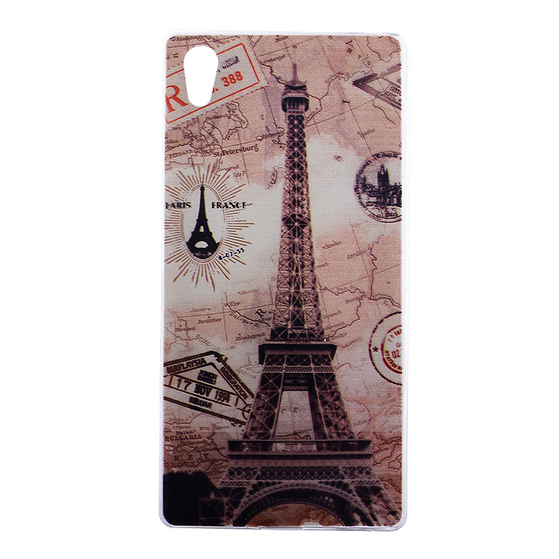 TPU Slim Thin Soft Case Back Cover Skin Shell for Sony Z5 - Eiffel Tower