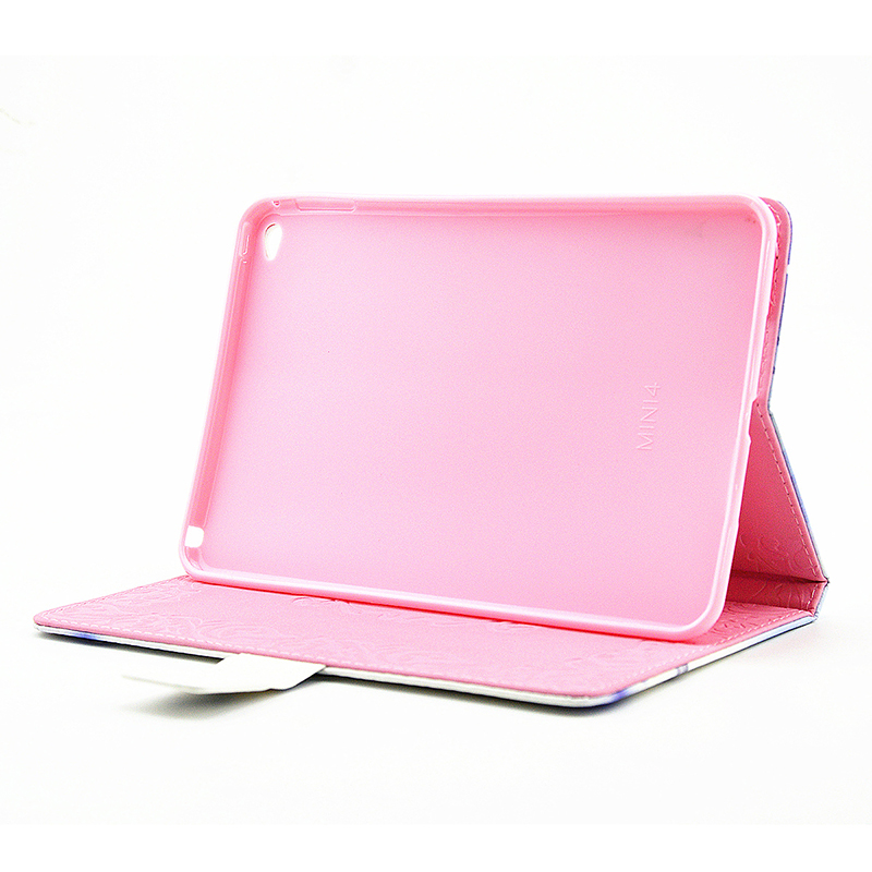 Bling Crystal Magnetic Flip Stand Leather Case Cover Shell for iPad Mini 4 - Pink Lady