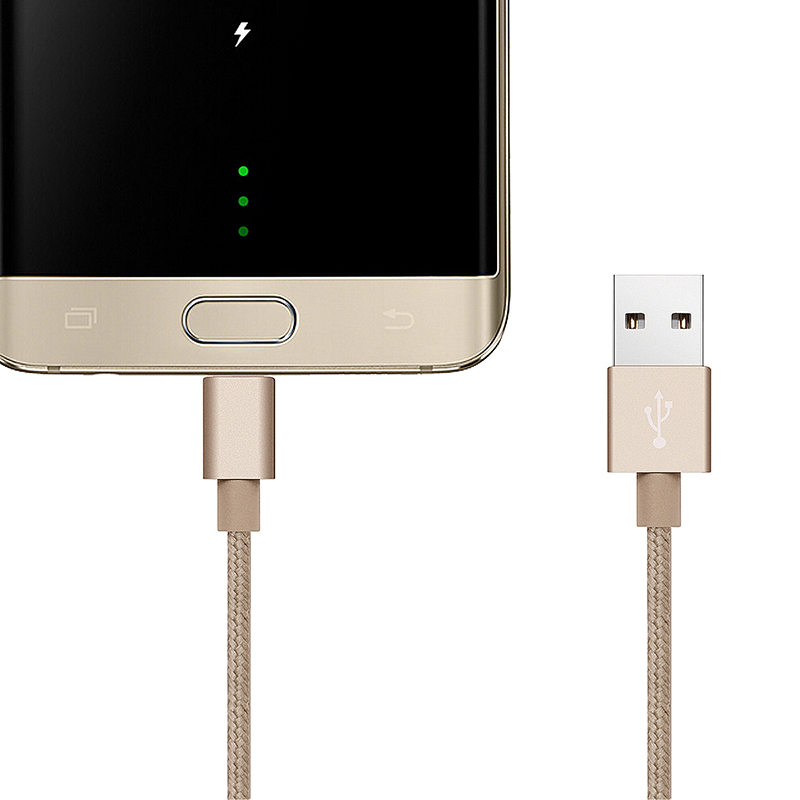 3m High Quality Metal Knit Weave Braid Micro USB Data Cable - Gold