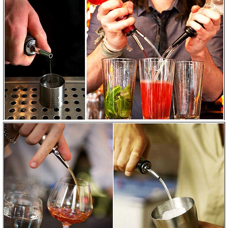 Liquor Spirit Pourer Free Flow Wine Bottle Pour Spout Stopper Stainless Steel
