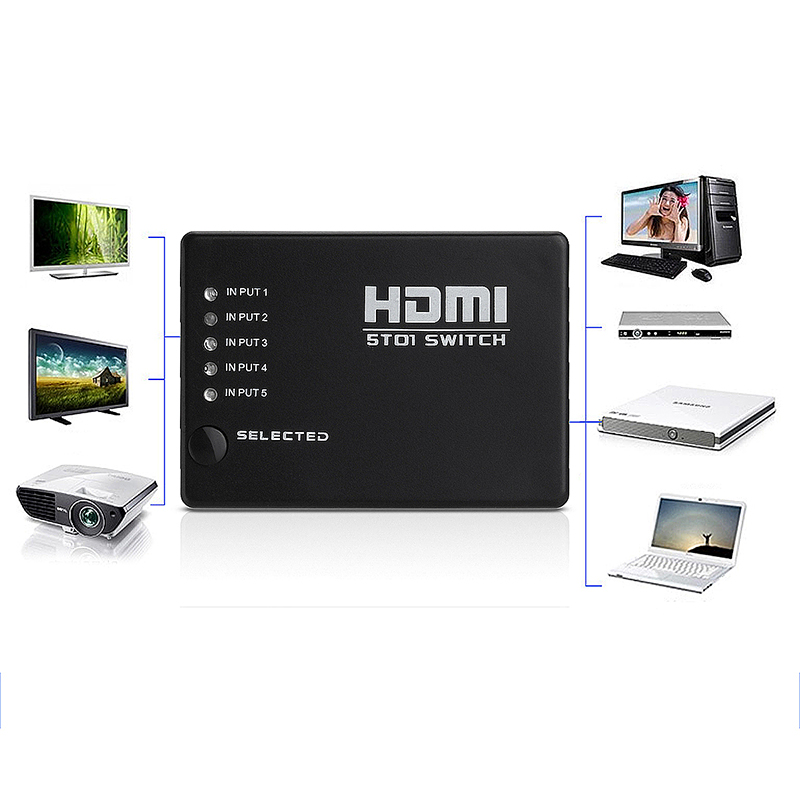 5 PORT HDMI Switch Selector Switcher Splitter Hub & IR Remote for HDTV PS3