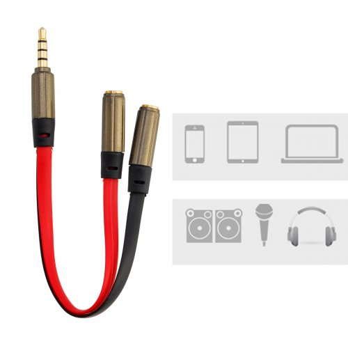 Earphone 3.5mm Audio Y Splitter 2 Female to 1 Male Flat Cable Adapter