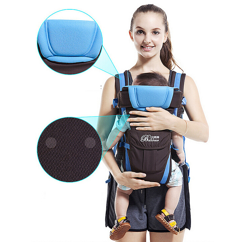 Breathable Ergonomic Infant Baby Carrier Adjustable Wrap Sling Newborn Backpack - Blue