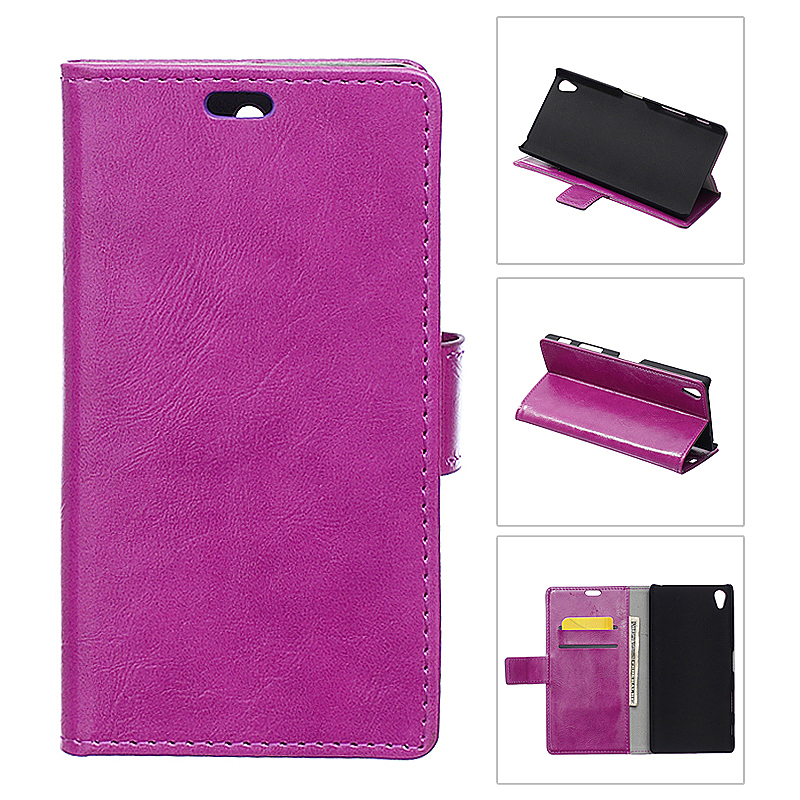 Crazy Horse Leather Case Flip Magnetic Stand Cover for Sony Z5 Plus - Purple