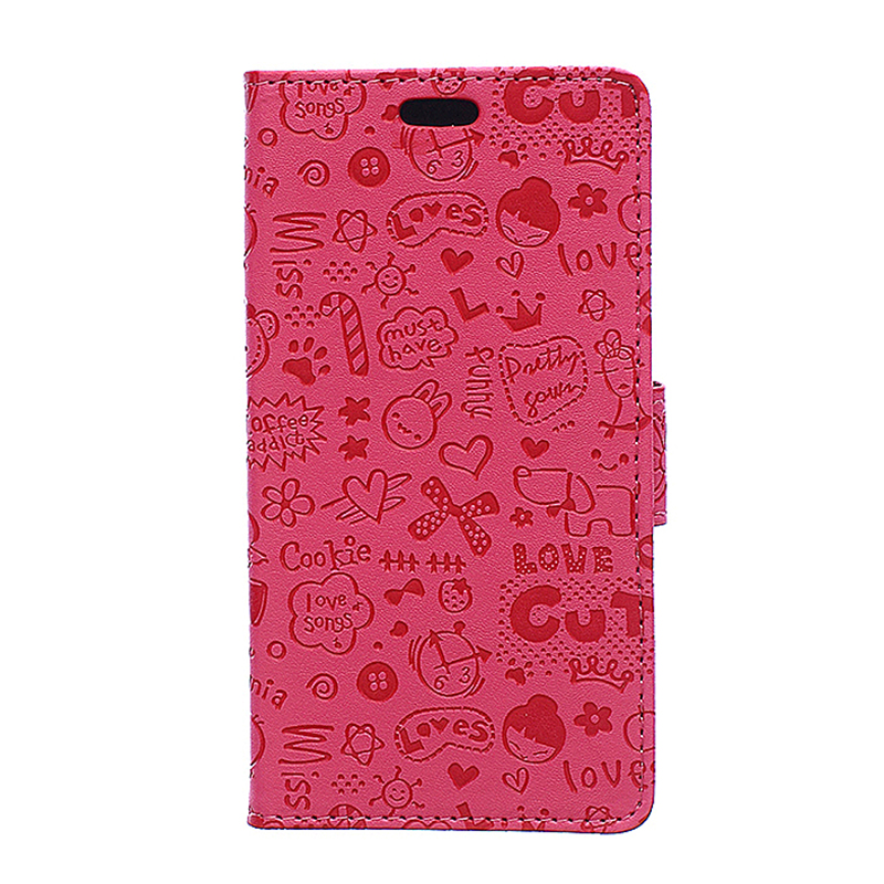 Cartoon Embossed Leather Case Magnetic Flip Stand Cover for Sony Z5 Plus - Rose Red