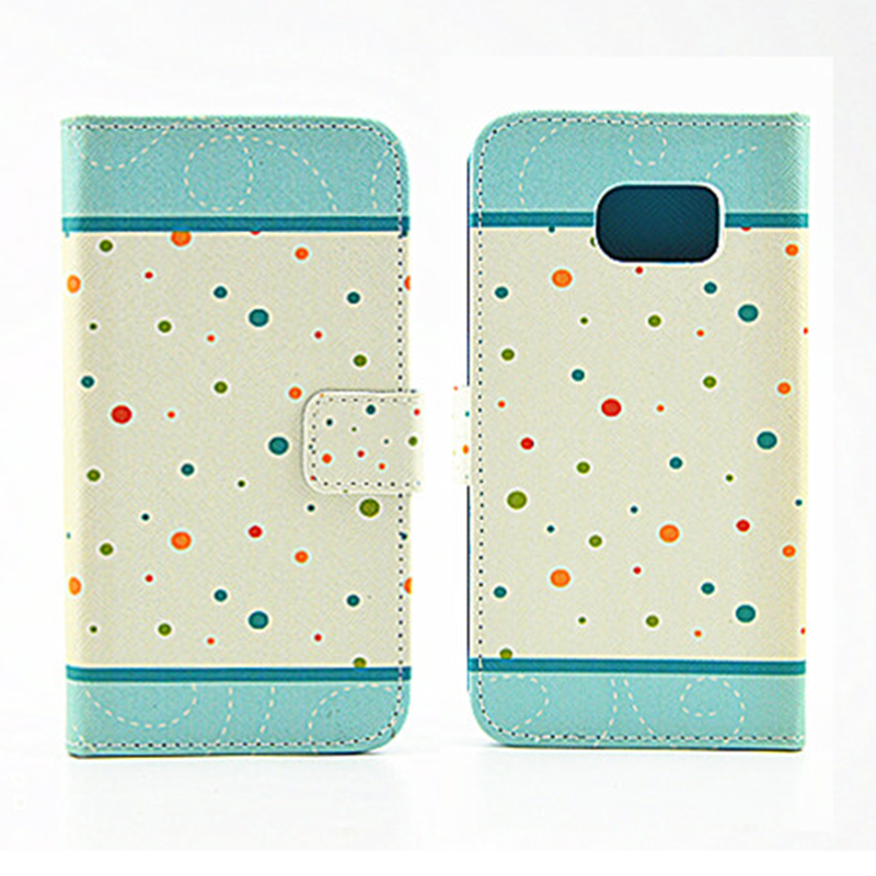 Colorful Painting Magnetic Stand Flip Leather Case for Samsung S6 - Color Dot