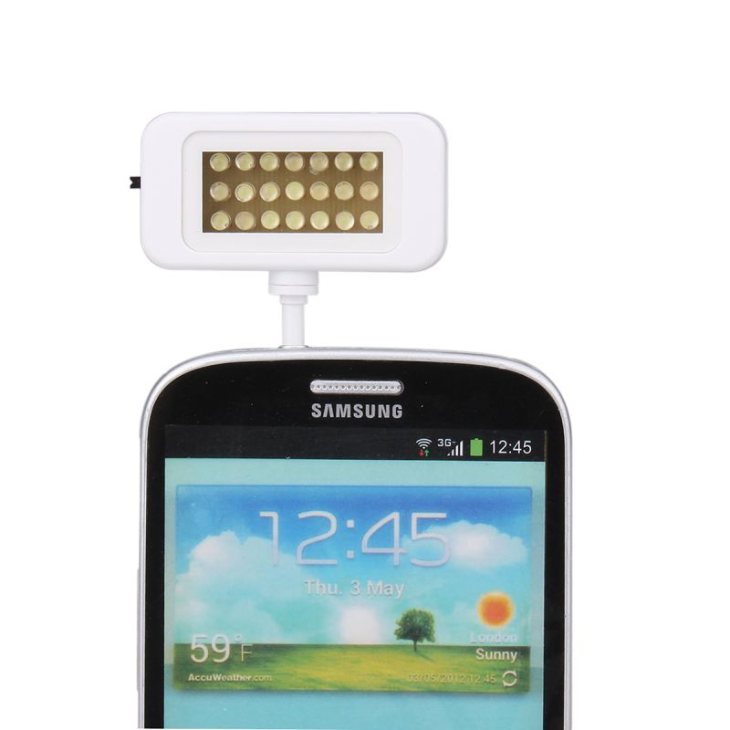 21 LED Flash Light-compensating Lamp for Smart Phones - White