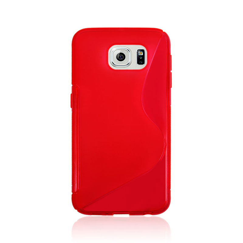 S Shape Wave TPU Soft Case for Samsung Galaxy S6 - Red