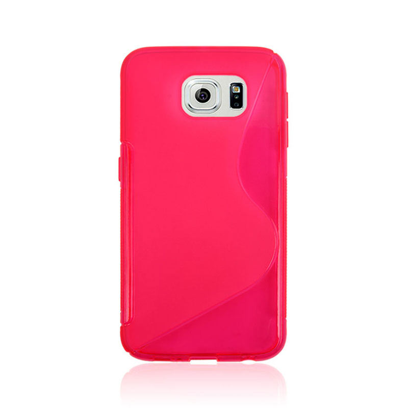 S Shape Wave TPU Soft Case for Samsung Galaxy S6 - Pink