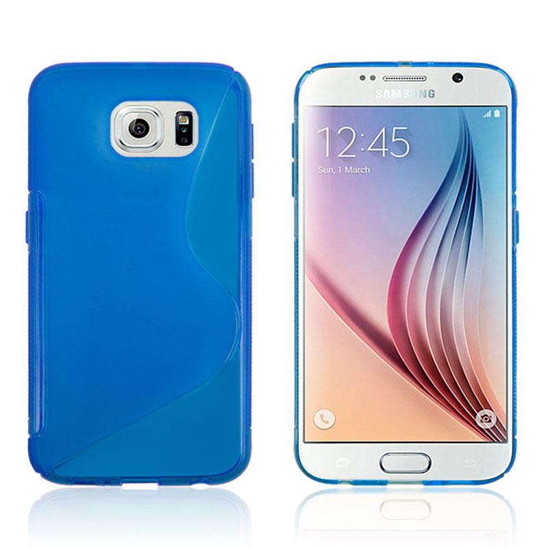 S Shape Wave TPU Soft Case for Samsung Galaxy S6 - Blue