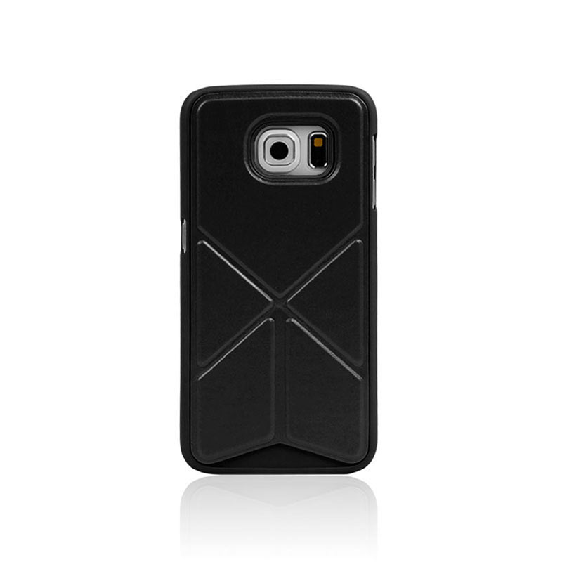 Leather Case with Foldable Stand for Samsung Galaxy S6 Edge - Black