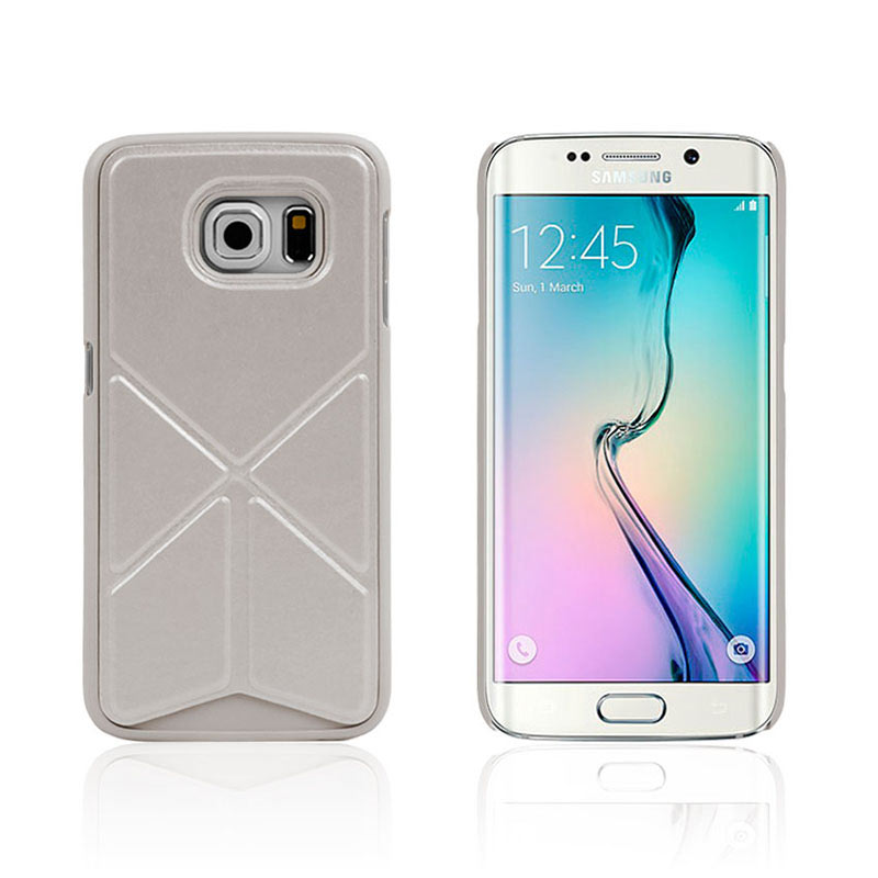 Leather Case with Foldable Stand for Samsung Galaxy S6 Edge - White