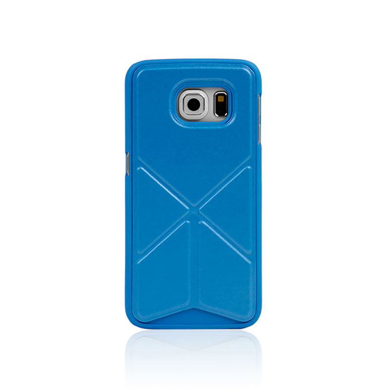 Leather Case with Foldable Stand for Samsung Galaxy S6 Edge - Blue