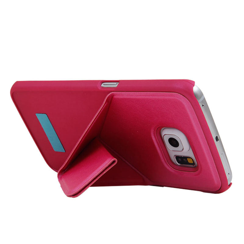 Leather Case with Foldable Stand for Samsung Galaxy S6 Edge - Red