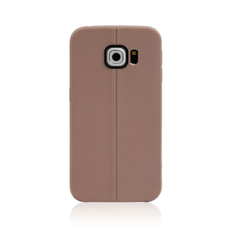 Middle Line Design TPU Case for Samsung Galaxy S6 Edge - Brown