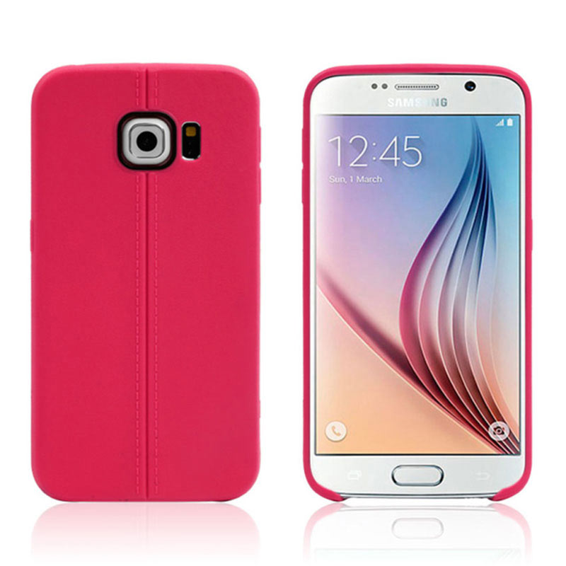Middle Line Design TPU Case for Samsung Galaxy S6 Edge - Red