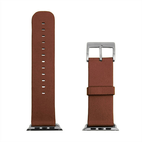 Genuine Leather Watchband Strap + Connector Adapter for Apple Watch 42mm - Brown