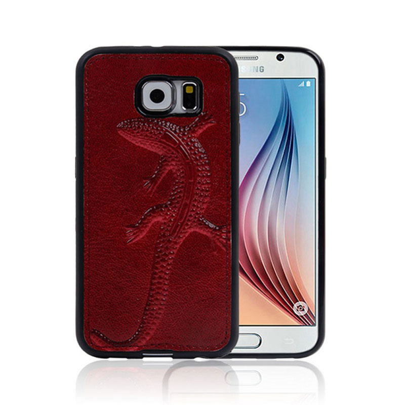 Gecko Embossing Phone Case for Samsung S6 - Red