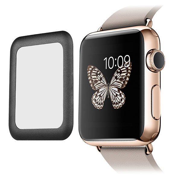 Metal Frame Tempered Glass 0.2mm Screen Protector for Apple Watch 38mm - Black