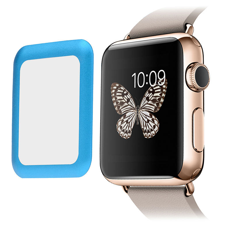 Metal Frame Tempered Glass 0.2mm Screen Protector for Apple Watch 42mm - Blue