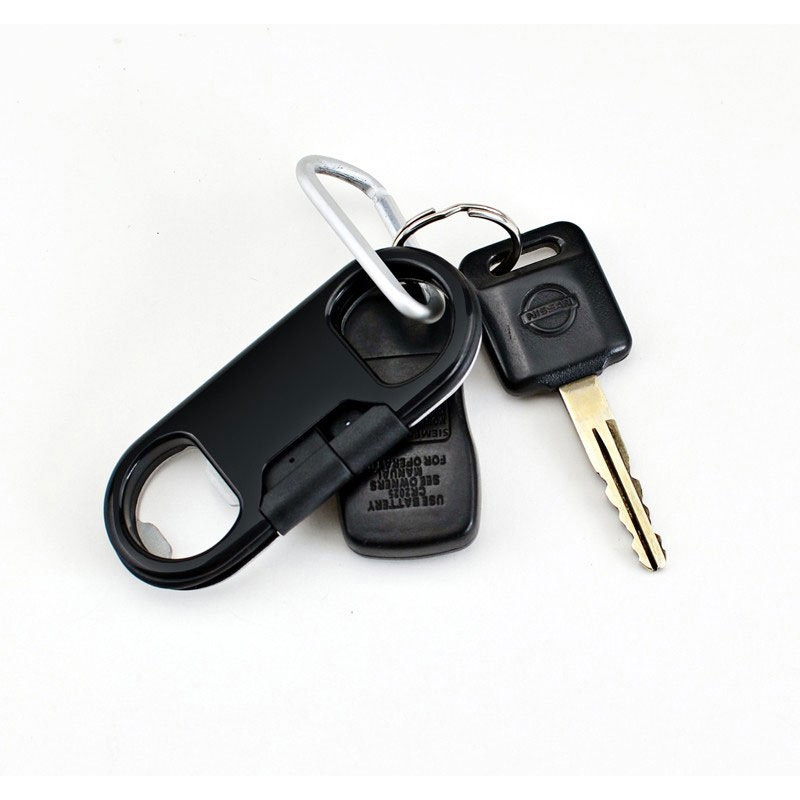 iPhone 6 KeyChain Style 8pin Data Cable with Bottle Opener - Black