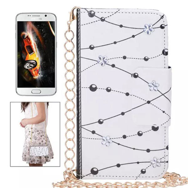 Ball Chain Print Wallet Case for Samsung S6 Edge with Bag Chain