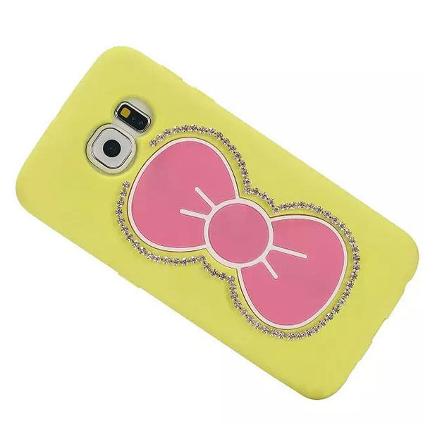 Bowknot Stand Hold Case for Samsung S6 Edge - Yellow