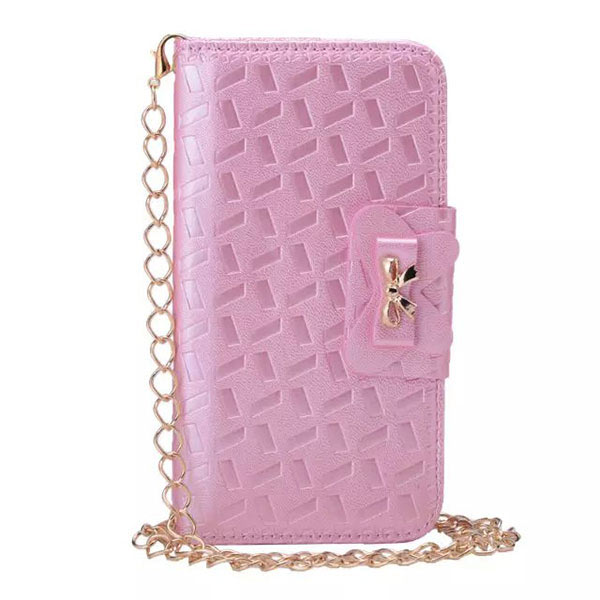 Bowknot Embossing Flip Magnatic Case for Samsung S6 - Pink