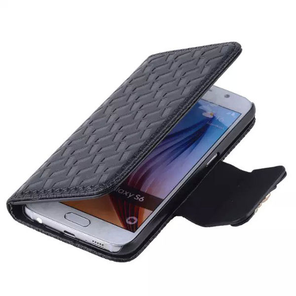 Bowknot Embossing Flip Magnatic Case for Samsung S6 - Black