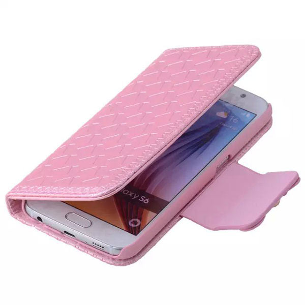 Bowknot Embossing Flip Magnatic Case for Samsung S6 Edge - Pink