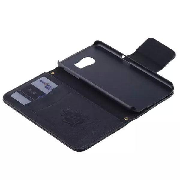 Bowknot Embossing Flip Magnatic Case for Samsung S6 Edge - Black