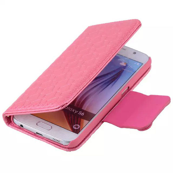 Bowknot Embossing Flip Magnatic Case for Samsung S6 Edge - Red
